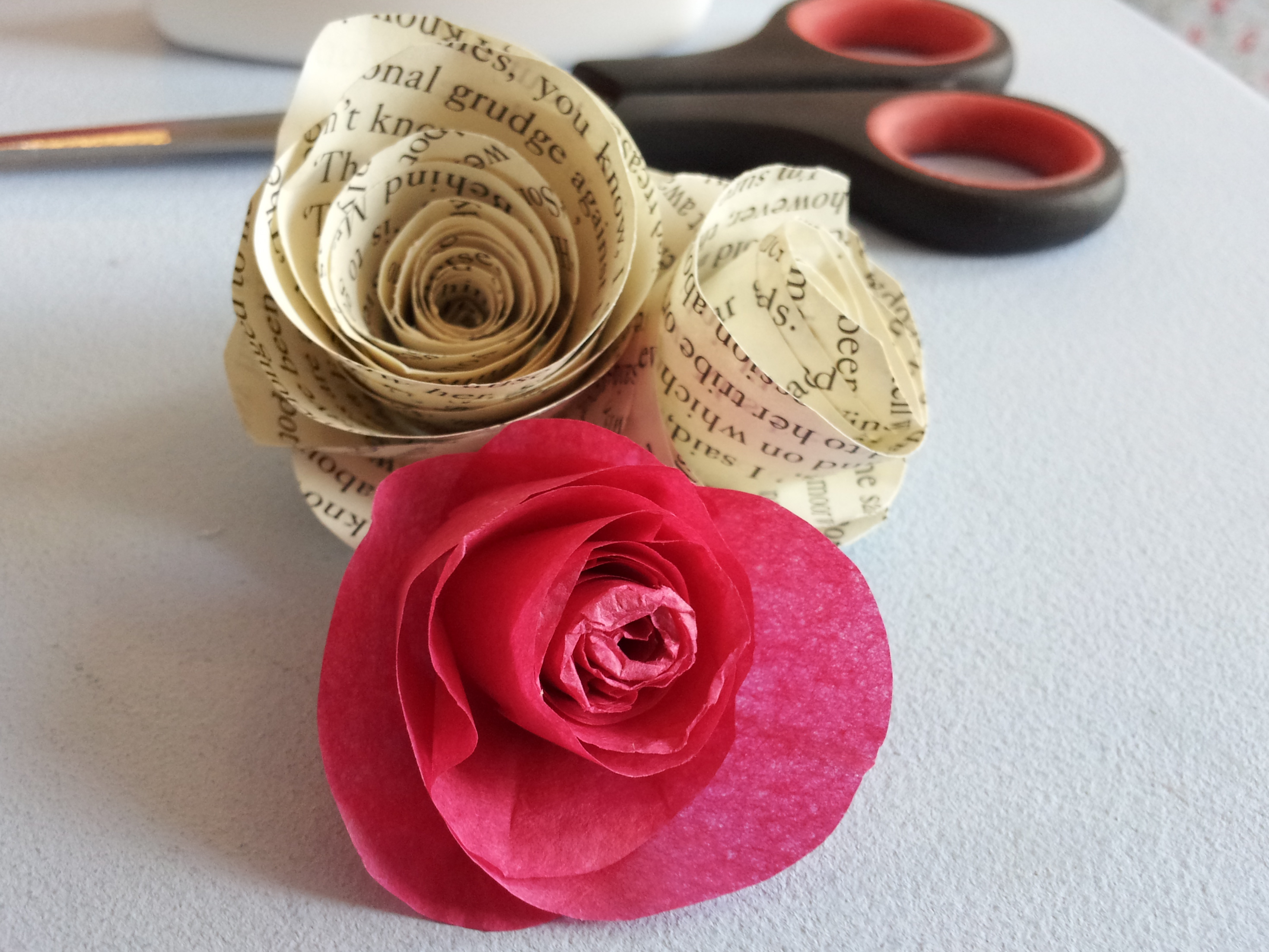 Paper rose tutorial a super easy little project that only takes around 1o minutes to finish these roses would be a perfect quirky touch to any party or wedding mightylinksfo